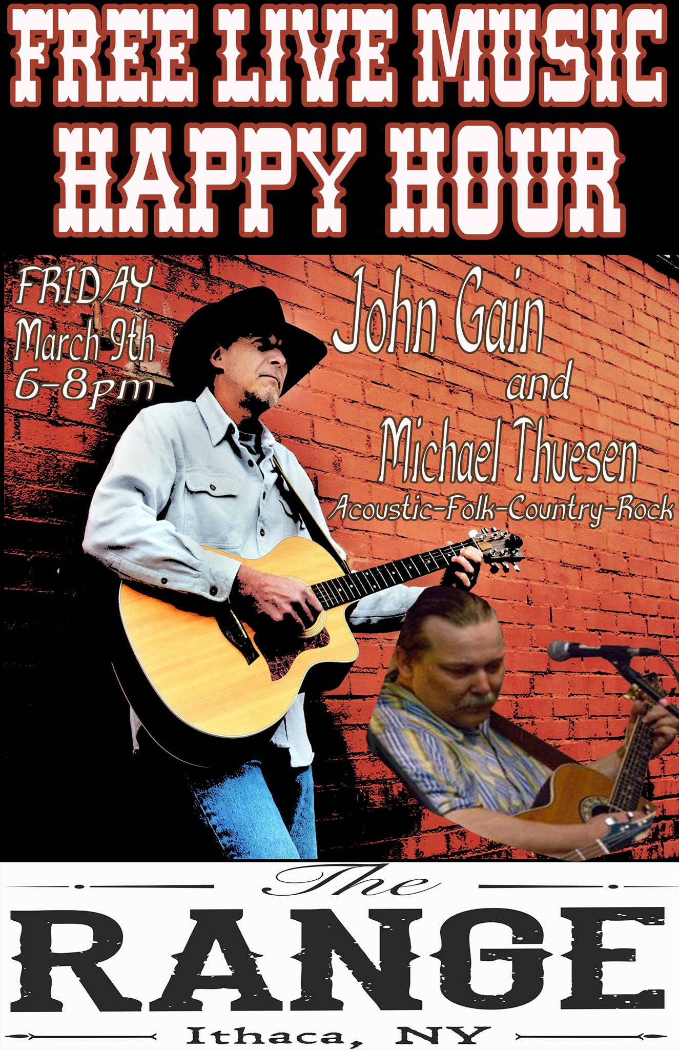 john gain mike thuesen the range acoustic blues music live happy hour downtown ithaca commons free