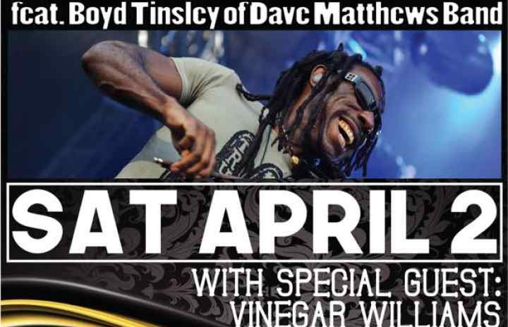 Sunday April 2nd its Crystal Garden featuring Boyd Tinsley of The Dave Matthews Band!! This show WILL sell out! Get your tickets at The Range, Ithaca Guitar Works or at www.kevinblackpresents.com . $20 in advance $25 at the door!