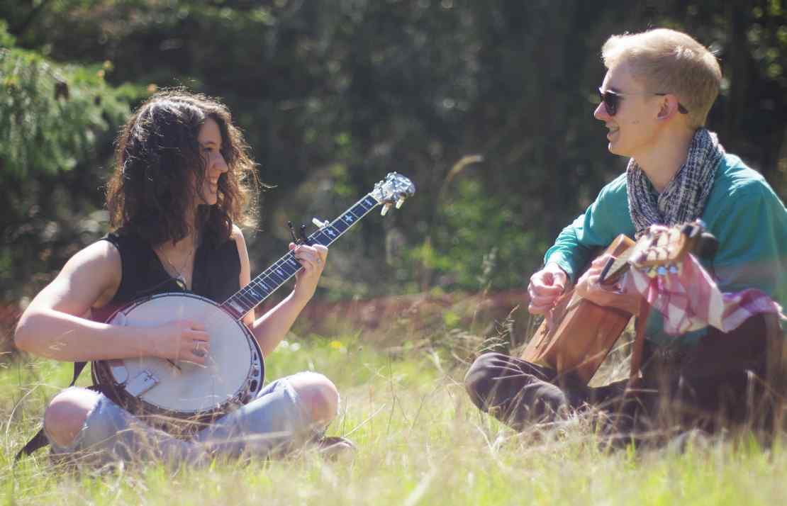 cloud crest folk duo busk busking acoustic live music not loud downtown ithaca commons the range saturday evening happy hour free